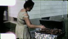 Woman COOKS BEEF Steak BARBECUE BBQ 1960s (Vintage Film Home Movie) 5708 Stock Footage