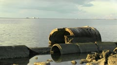 Rock pilings in Tampa Bay Stock Footage