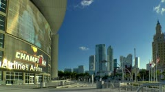 Miami downtown skyline seen along Biscayne blvd from arena in late afternoon Stock Footage