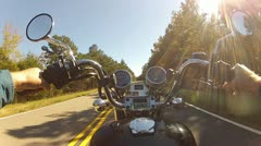 Wide Angle POV Riding Motorcycle On Forest Road 1 Stock Footage