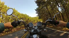 Wide Angle POV Riding Motorcycle On Forest Road 3 Stock Footage