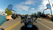Stock Video Footage of POV Motorcycle Riding In Small Town America 1