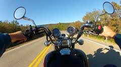 POV Motorcycle Riding On Tree Lined Rural Highway - stock footage