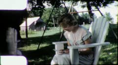 Woman Reads Love Letter Reading Mail Vintage Film Retro Home Movie 5716 Stock Footage