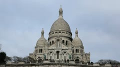 Sacre Coeur Basilica of the Sacred Heart of Jesus Montmartre, Paris, France Stock Footage