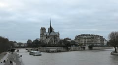 Notre Dame Cathedral in Paris, France, Seine River, French Boat Tour, time lapse Stock Footage