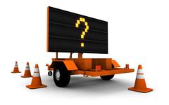 Question Mark On Road Work Sign (Large) Stock Illustration