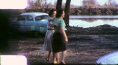 GIRLFRIENDS True Friends Buddies Close Together 50s Vintage Film Home Movie 5726 Stock Footage