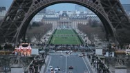 Stock Video Footage of Aerial View of Eiffel Tower in Paris, Montparnasse Tower, time lapse