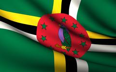 flying flag of dominica . all countries collection . - stock illustration