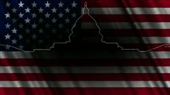 Capitolium Washington DC handdraw design with USA flag Stock Footage