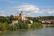Church san giorgio in braida at river adige Stock Photos