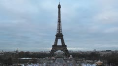 Aerial View of Eiffel Tower in Paris, Montparnasse Tower, time lapse Stock Footage