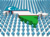 Uzbekistan map flag surrounded by many abstract people illustration Stock Illustration