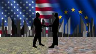 American european meeting with skyline flags and currency illustration Stock Illustration