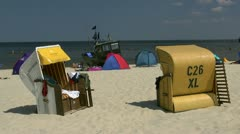 Roofed Wicker Beach Chairs on Usedom Island - Baltic Sea, Northern Germany Stock Footage