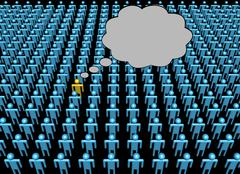 Thoughts of one person in crowd illustration Stock Illustration