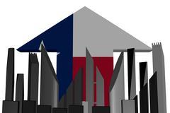 abstract skyline and texan flag arrow illustration - stock illustration