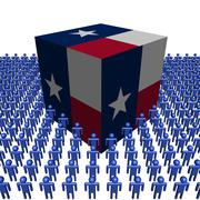 texan flag cube surrounded by people illustration - stock illustration