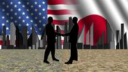 American japanese meeting with skyline flags and currency illustration Stock Illustration