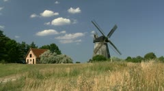 Beautiful Summer Landscape with Wind Mill on Usedom Island - Baltic Sea, Germany Stock Footage