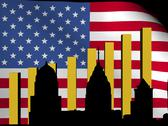 Stock Illustration of philadelphia skyline and graph over american flag animation