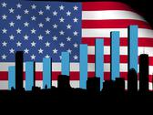 Stock Illustration of boston skyline and graph over american flag animation