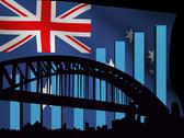 Stock Illustration of sydney skyline and graph over flag animation