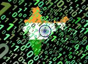 Stock Illustration of binary and india map flag animation