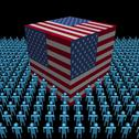 American flag cube surrounded by people illustration Stock Illustration