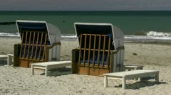 Roofed Wicker Beach Chairs in Heiligendamm - Baltic Sea, Northern Germany Stock Footage