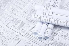 Drawings rolled in a tube crosswise Stock Photos
