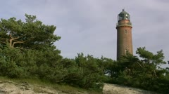 Old Lighthouse in Darsser Ort on Darss Peninsula - Baltic Sea, Northern Germany Stock Footage