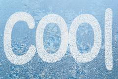 frost pattern and word cool - stock illustration