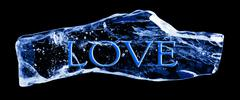 Word love frozen in the ice Stock Illustration