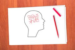 Drawing head and tick-tack-toe Stock Photos