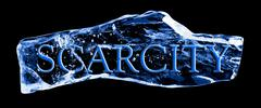 word scarcity frozen in the ice - stock illustration