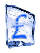 Sign pound sterling frozen in the ice Stock Illustration