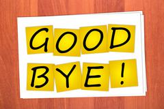 Stock Photo of word good bye on stickers
