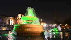Fountains at Trafalgar Square, London - stock footage