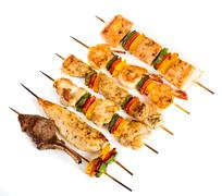tasty grilled meat, shish kebab - stock photo