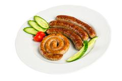 grilled meat sausages - stock photo