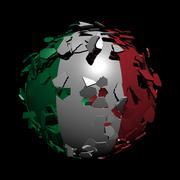 Italian flag sphere breaking apart illustration Stock Illustration