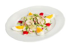 radish salad with egg - stock photo