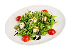 salad from eruca and cheese - stock photo