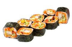 sushi roll on a white background - stock photo