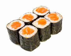 sushi (roll syake maki) on a white background - stock photo