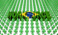 Brazilian workforce with flag text illustration Stock Illustration