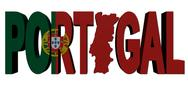 Portugal map text with flag illustration Stock Illustration