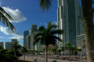 Miami downtown skyline along Biscayne blvd in early morning Stock Footage
